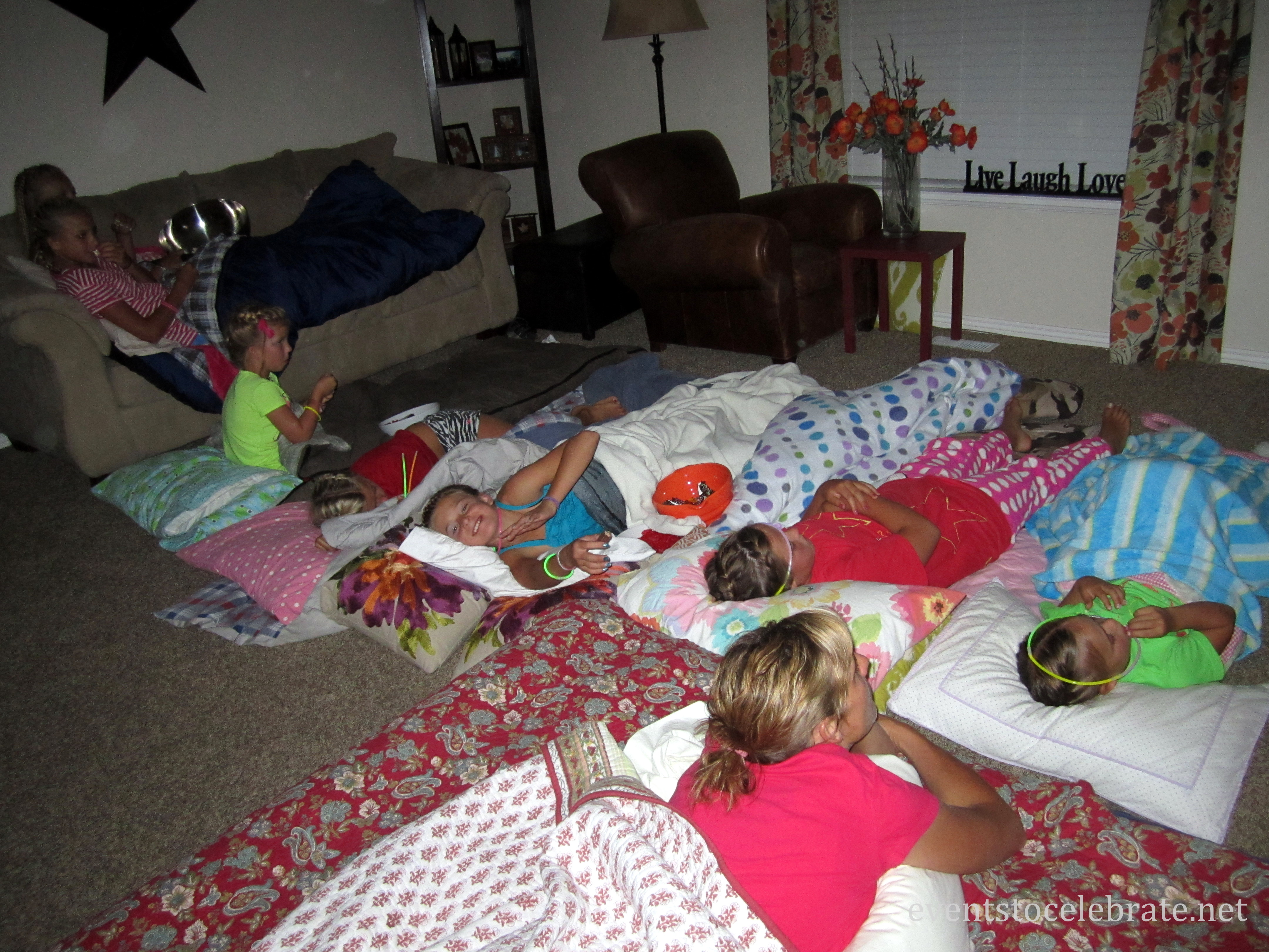 Movie around 9 00 we make our beds and settle in for a good movie