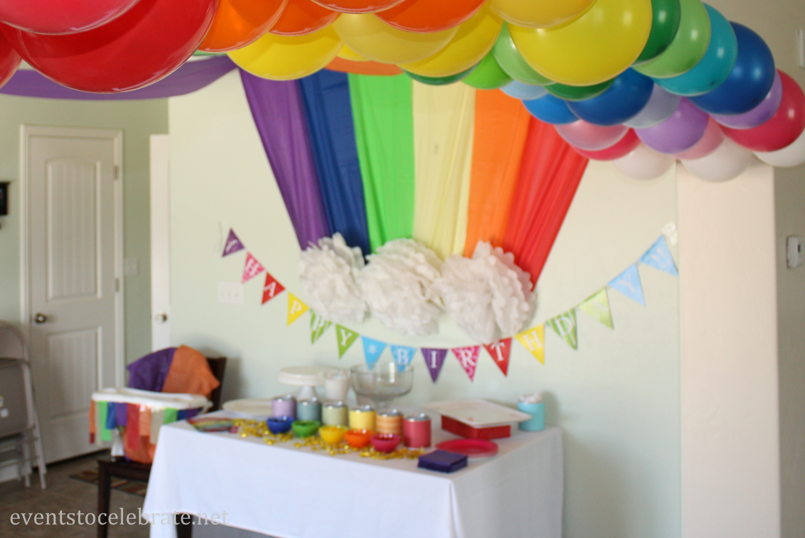Rainbow themed birthday party events to celebrate for Balloon decoration ideas for 1st birthday party