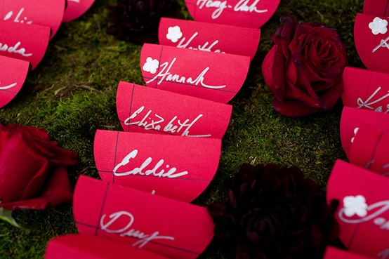 red placecard holder idea