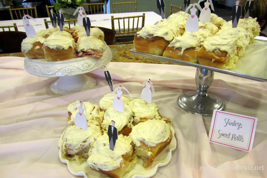 Bridal Shower sweet rolls with bride and groom picks