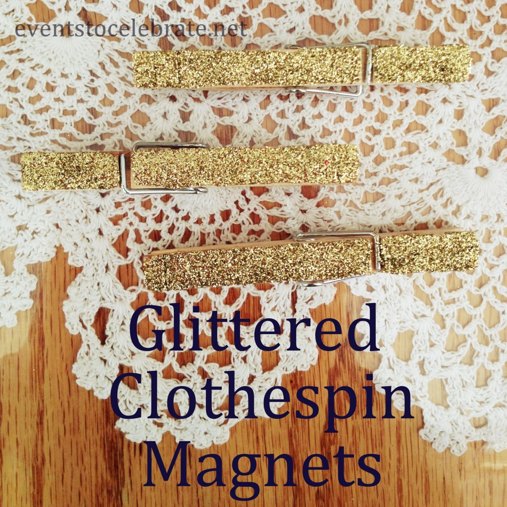 Glittered Clothespin Magnets
