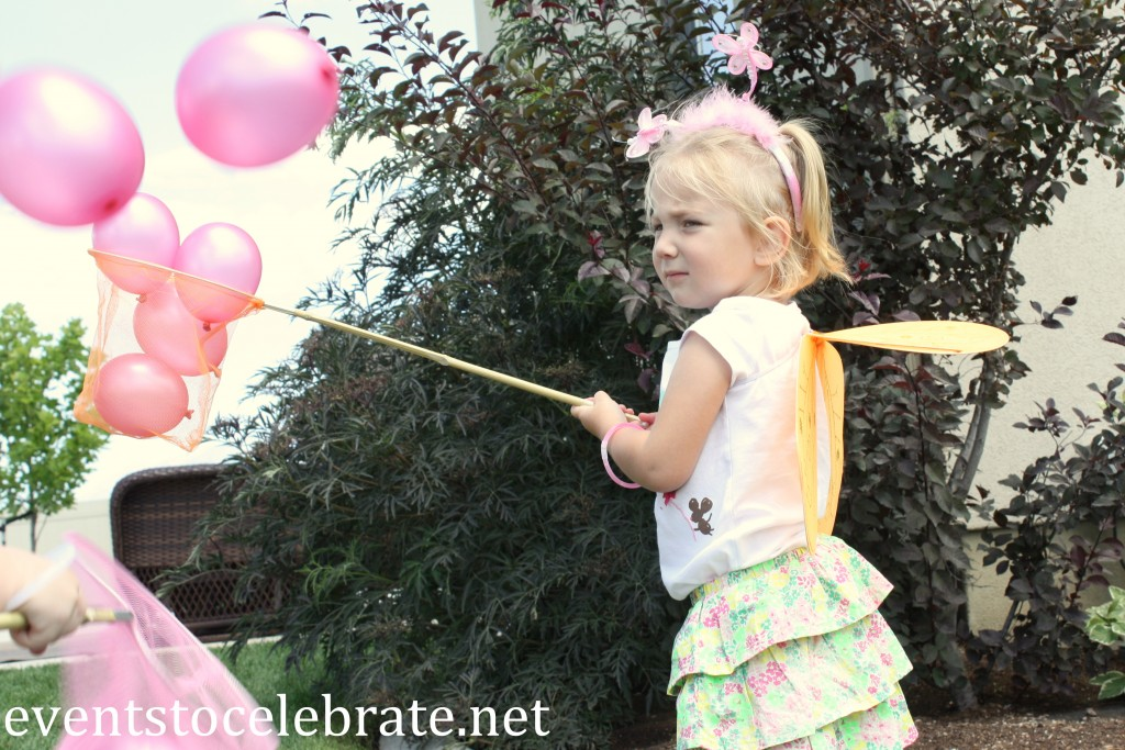 Butterfly Birthday Party Activities - catch balloons with butterfly nets - eventstocelebrate.net