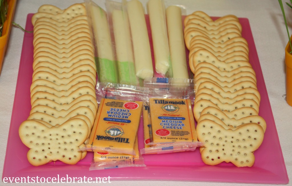 Butterfly Birthday Party - butterfly shaped crackers and cheese - eventstocelebrate.net