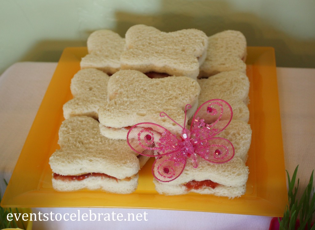 Butterfly Birthday Party - butterfly shaped sandwiches - eventstocelebrate.net