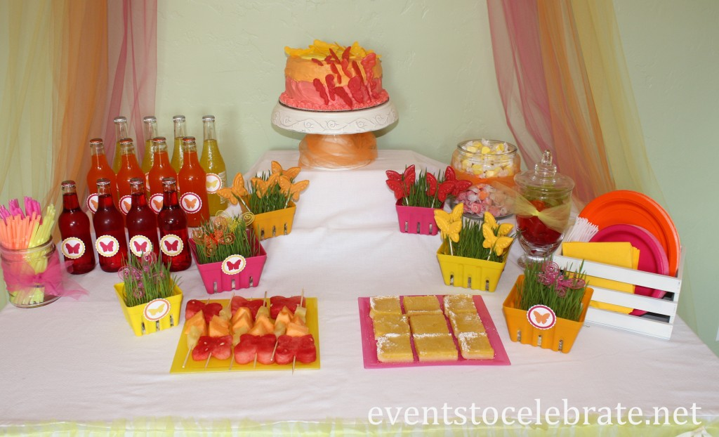 Butterfly Birthday Party - dessert table display - eventstocelebrate.net