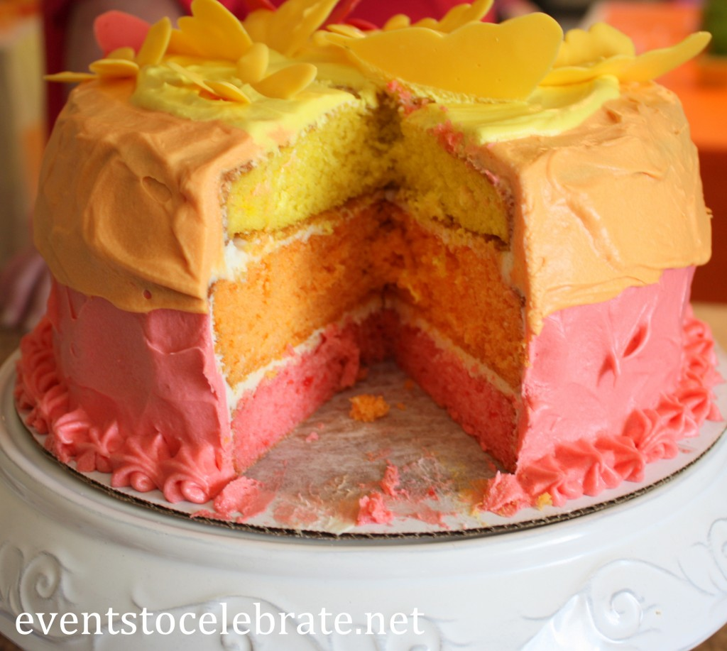 Butterfly Birthday Party - layered cake - eventstocelebrate.net