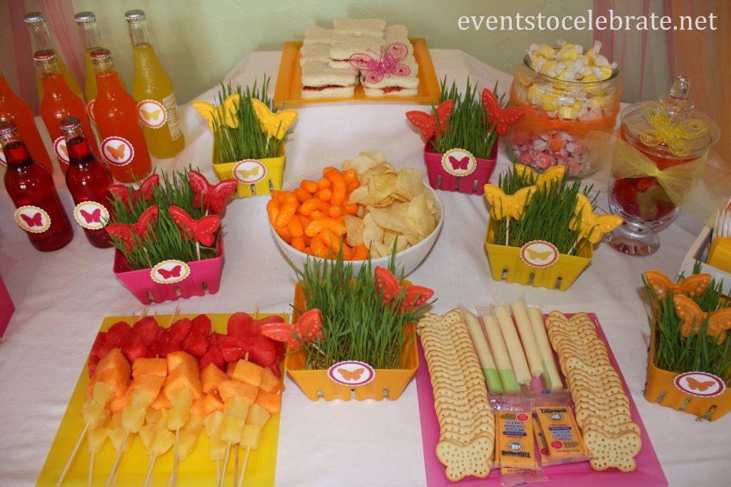 Butterfly Birthday Party - lunch food display - eventstocelebrate.net