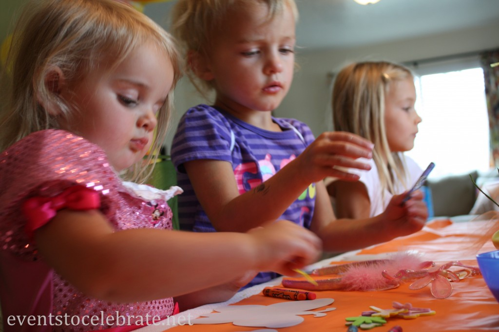 Butterfly Themed Birthday Party Activities - Color and Decorate a paper Butterfly - eventstocelebrate.net