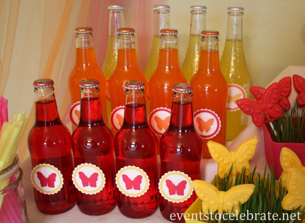 Butterfly Themed Party - drinks, beverages, soda - eventstocelebrate.net
