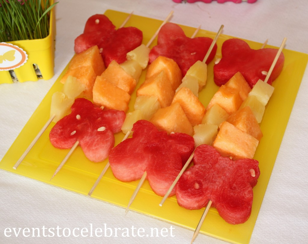 Butterfly Themed Party - fruit kabobs - butterfly shaped watermelon - eventstocelebrate.net