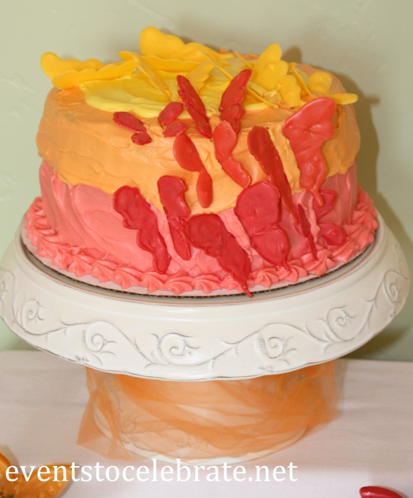 Butterfly Themed Party - layered cake - chocolate butterflies - eventstocelebrate.net