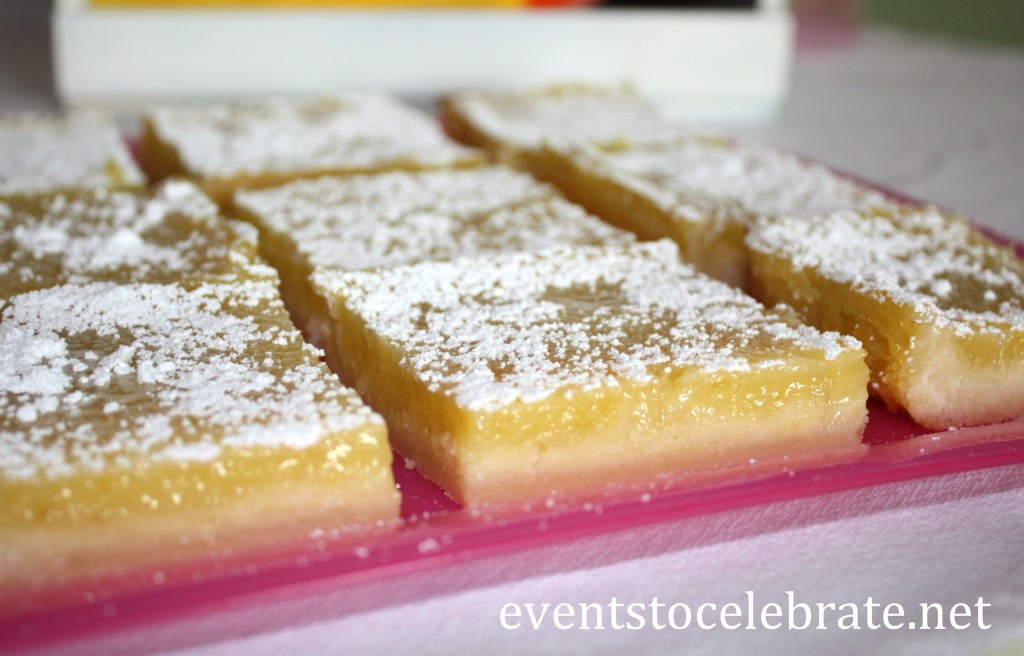 Lemon Bars - Butterfly Themed Party - eventstocelebrate.net