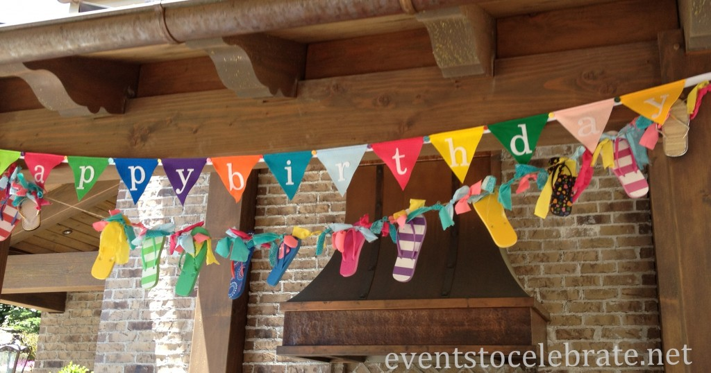 Swim Party Decorations - flip flop garland