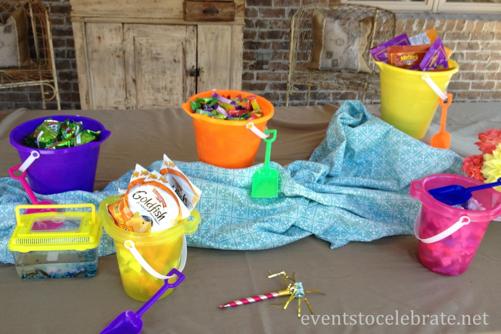 Swim Party Decorations - treats in sand buckets