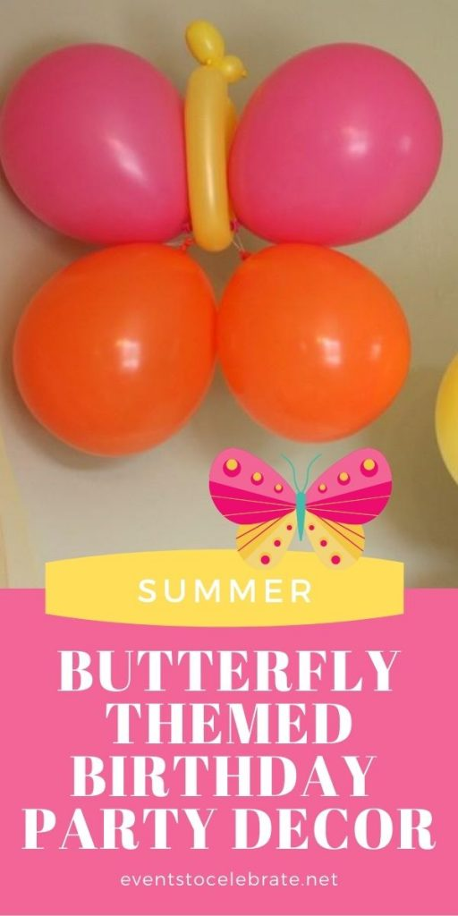 Butterfly themed birthday party decor