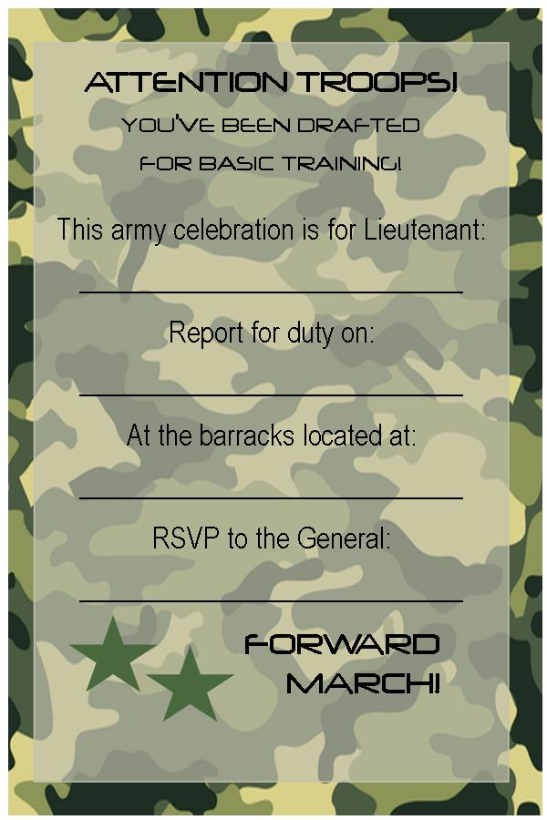 Free Printable Invitations: Army, Car Racing & Swim Party