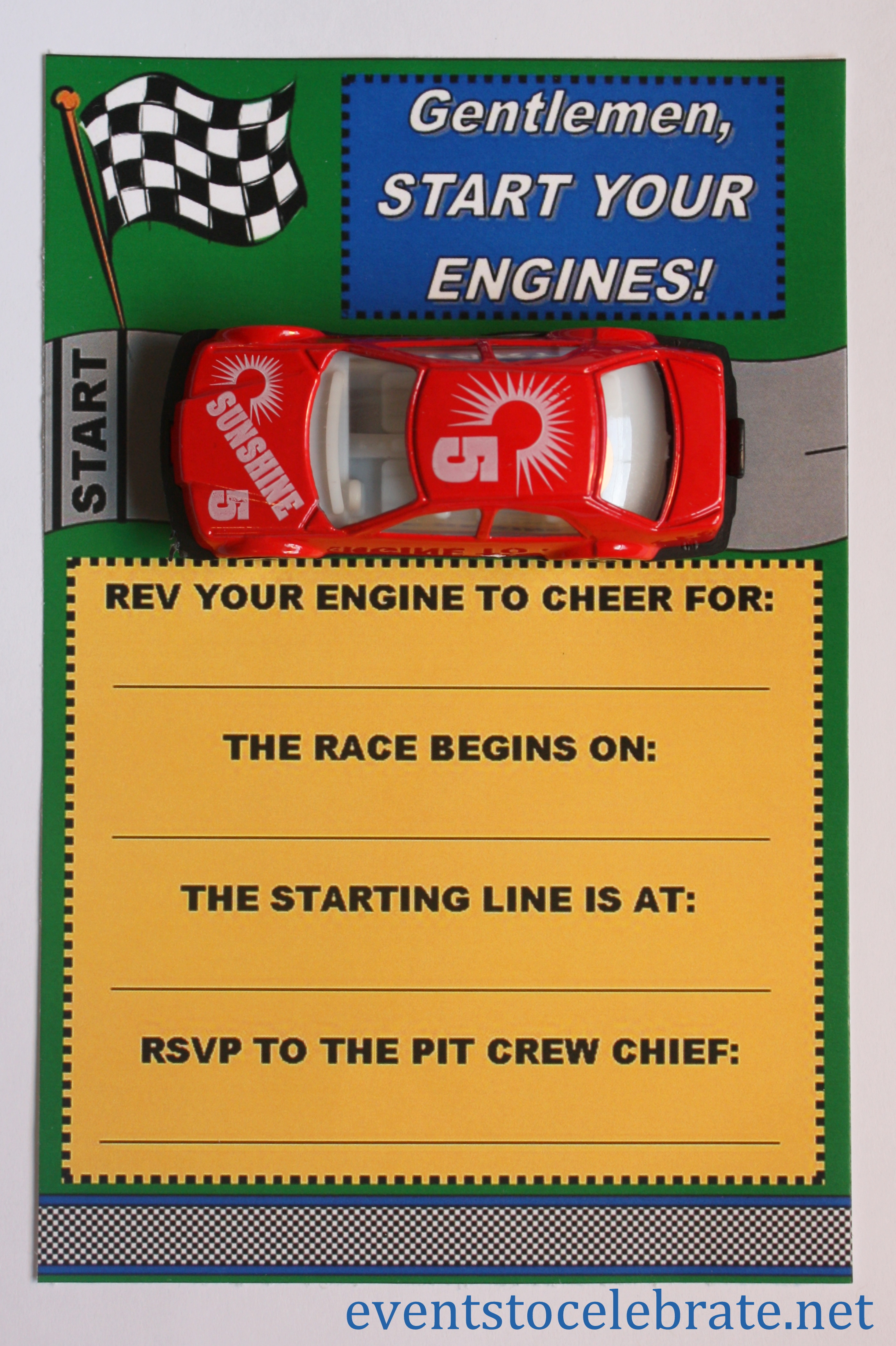 Car Racing Invitation Free Printable