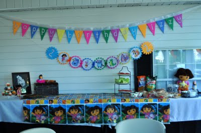 Dora the Explorer birthday party food display