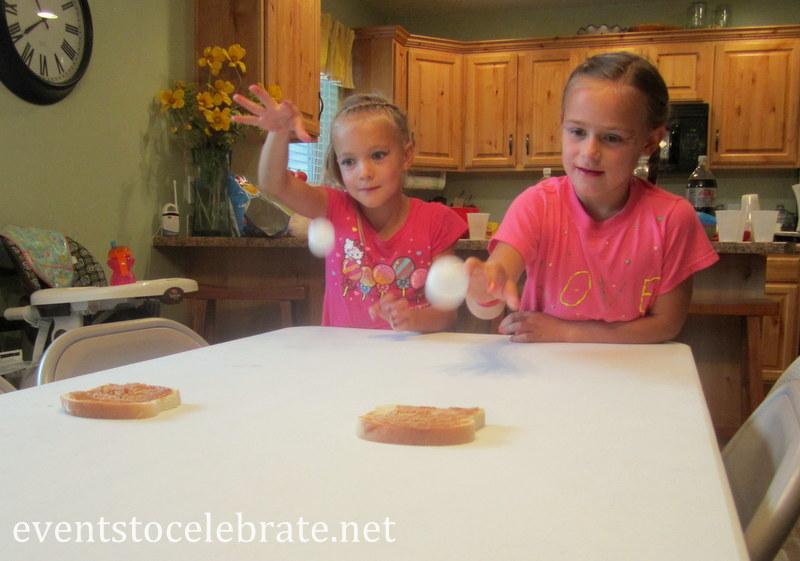 Minute To Win It - Bounce ball onto Peanut Butter bread