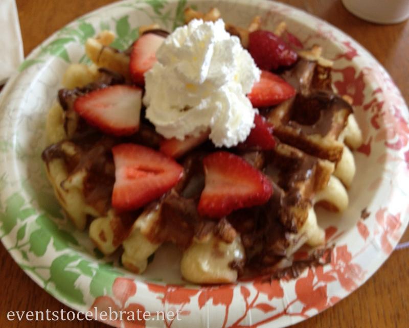Slumber Party Breakfast - Waffles, Nutella, Strawberries & whipped cream