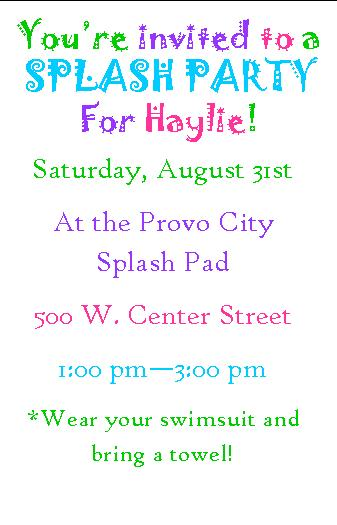 Splash Party Invitation
