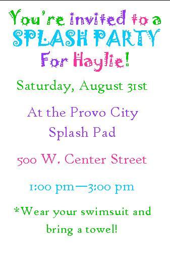 Splash Party Invitation