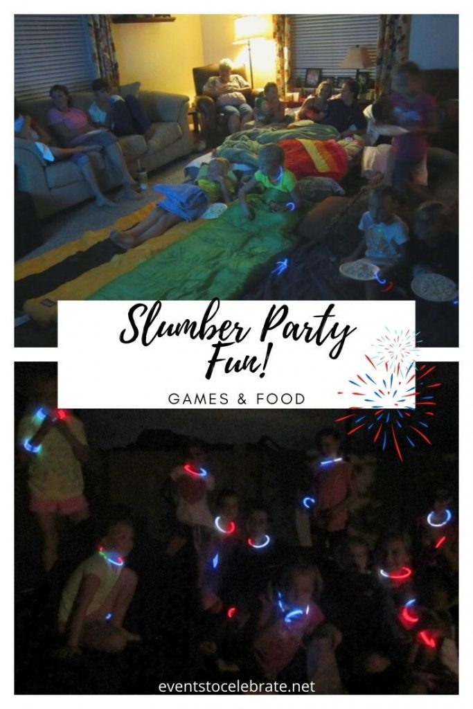Food and games for a sleepover