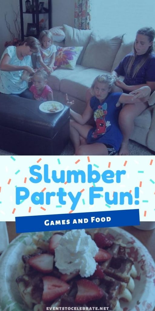games and food for a sleep over