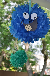 Sesame Street Birthday Party - Cookie Monster Pom Pom