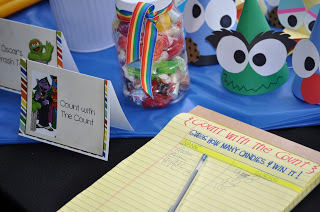 Sesame Street Birthday Party - Count the items in the Jar with Count