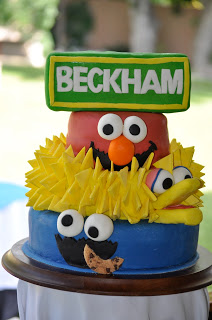 Sesame Street Birthday Party - Elmo, Big Bird & Cookie Monster Cake
