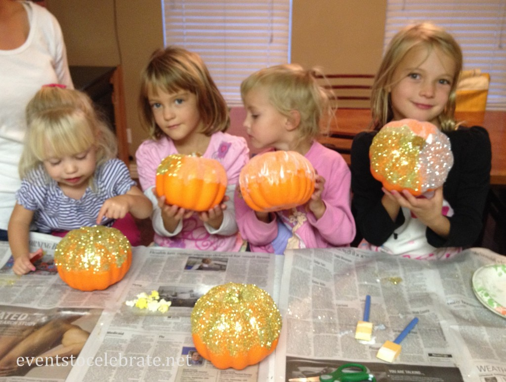 decorating pumpkins
