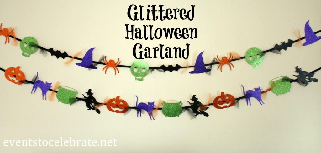 Glittered Halloween Garland - eventstocelebrate.net