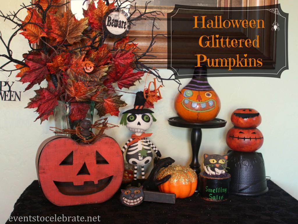 Dollar Store glittered halloween pumpkins
