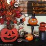Dollar Store Craft - glittered halloween pumpkins