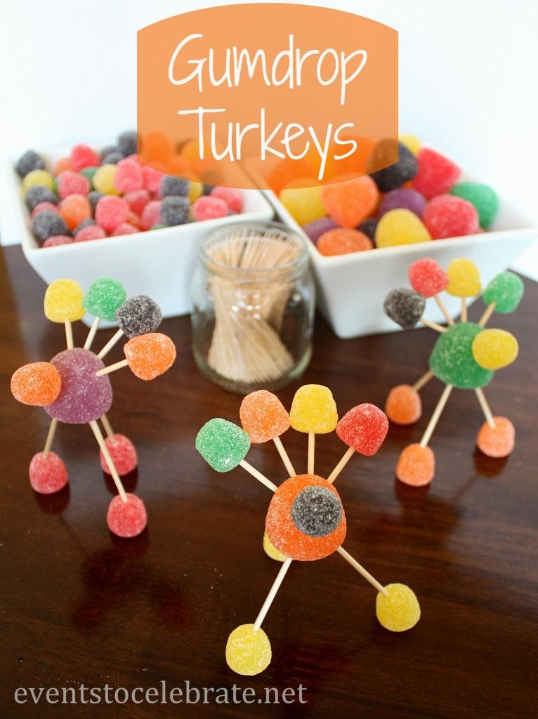 Thanksgiving Crafts - Gumdrop Turkeys - eventstocelebrate.net