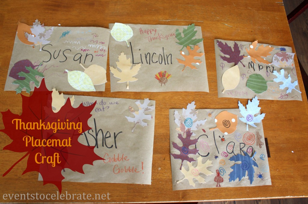 Thanksgiving Crafts for Kids - DIY Placemats