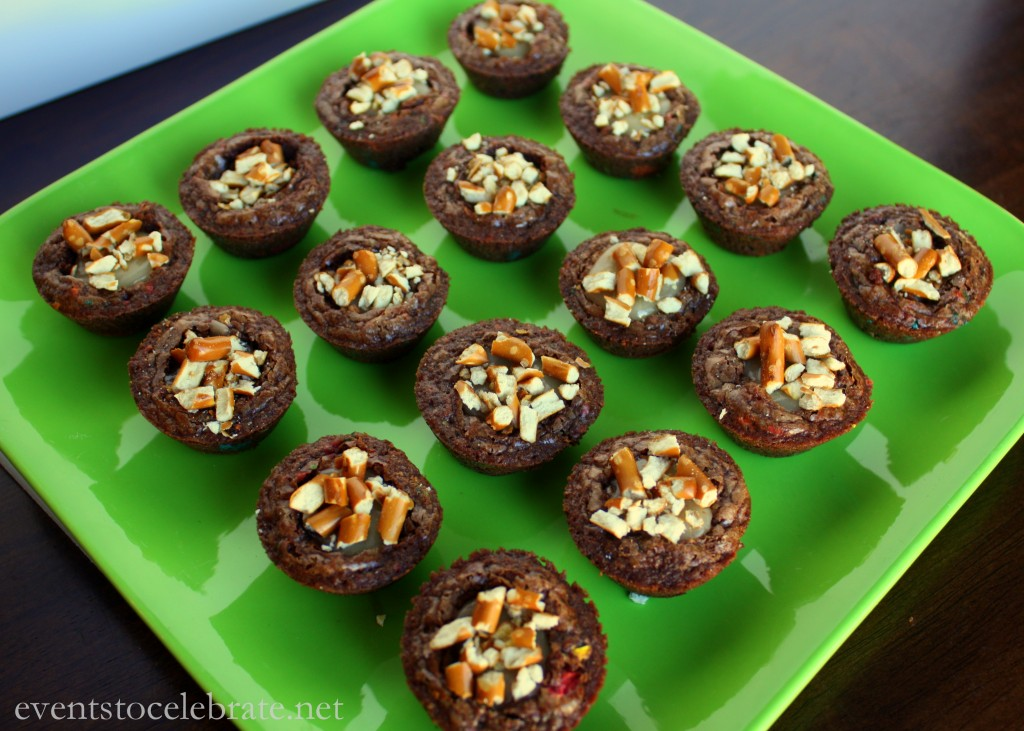 Caramel Filled M&M Brownie Bites #BakingIdeas #shop #cbias