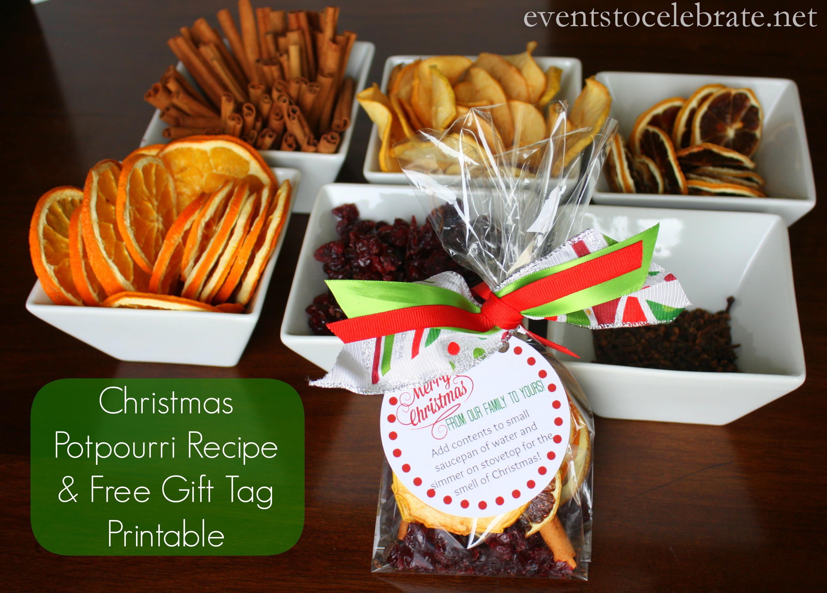 Homemade christmas potpourri gifts