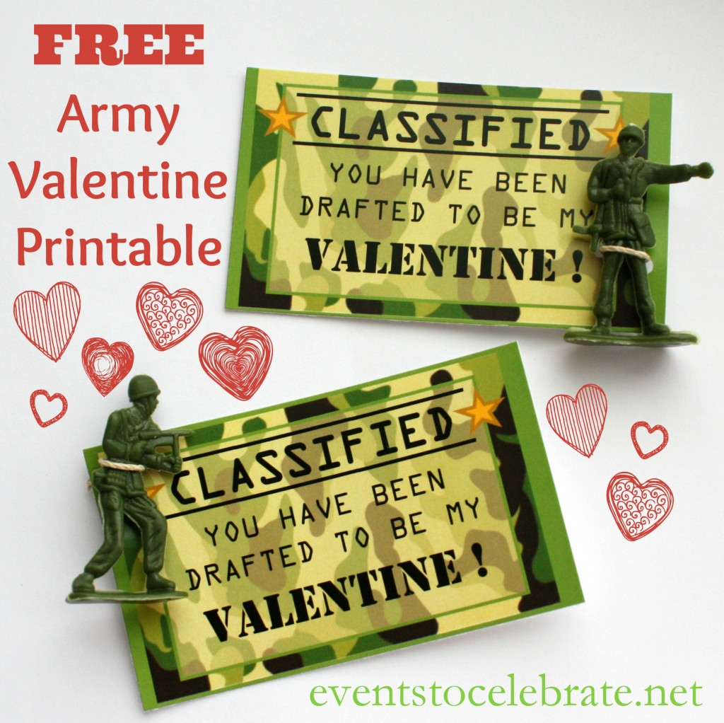 Free Printable Valentine - ARMY - events to CELEBRATE!