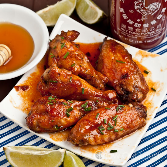 Honey Sriracha Chicken Wings : Chew Out Loud