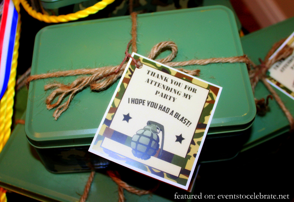 Army Birthday Party Favor Tags