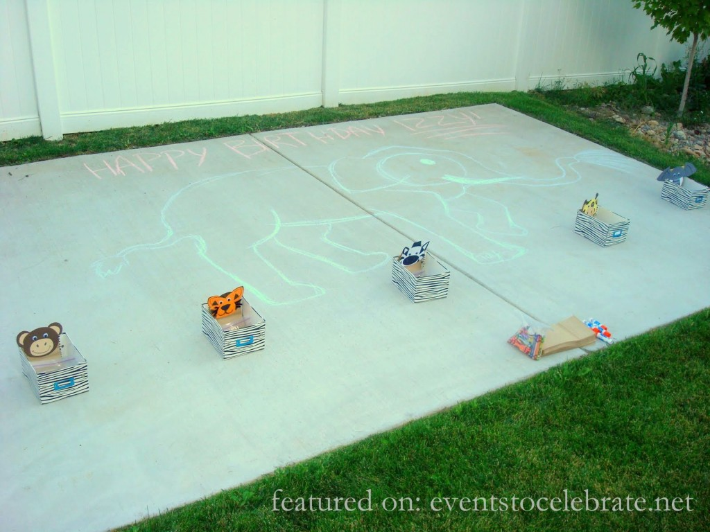 Jungle Birthday Party Sidewalk Chalk