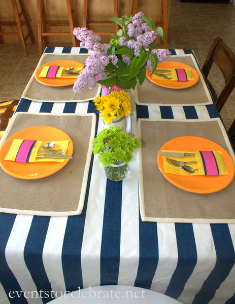 Navy Stripe Tablecloth - eventstocelebrate.net