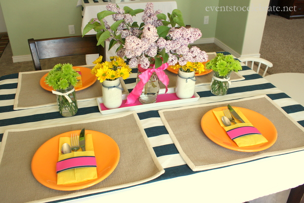 Navy Stripe Tablescape - eventstocelebrate.net