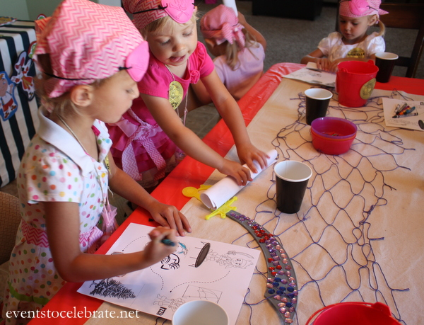 Pirate Party Treasure Map Coloring Page