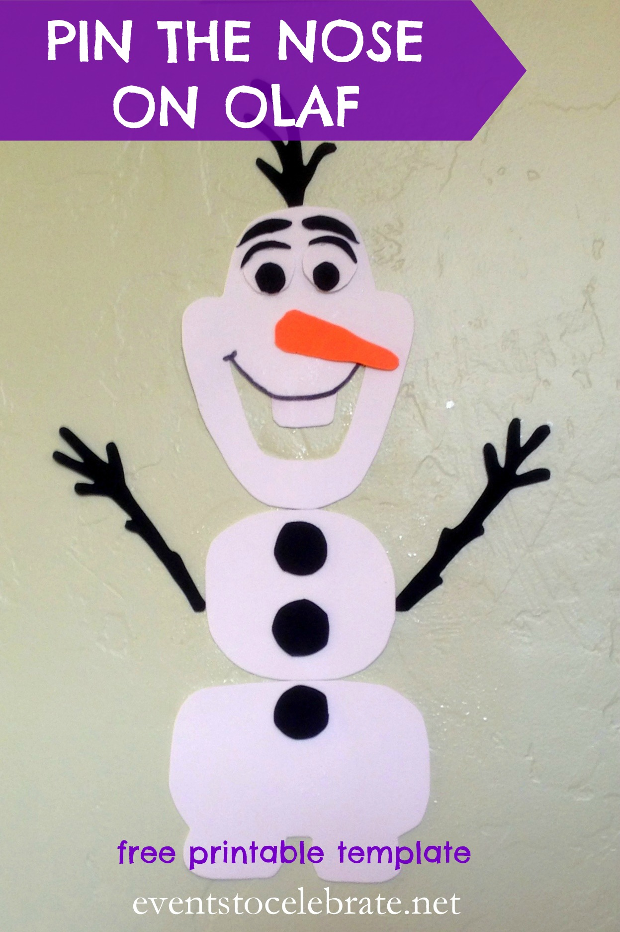 Olafs nose template for pin the nose on olaf party invitations ideas