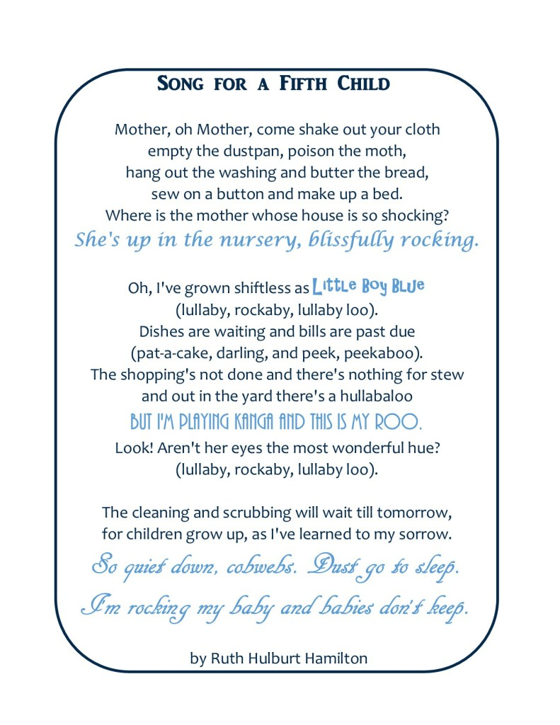 Song for a Fifth Child Printable