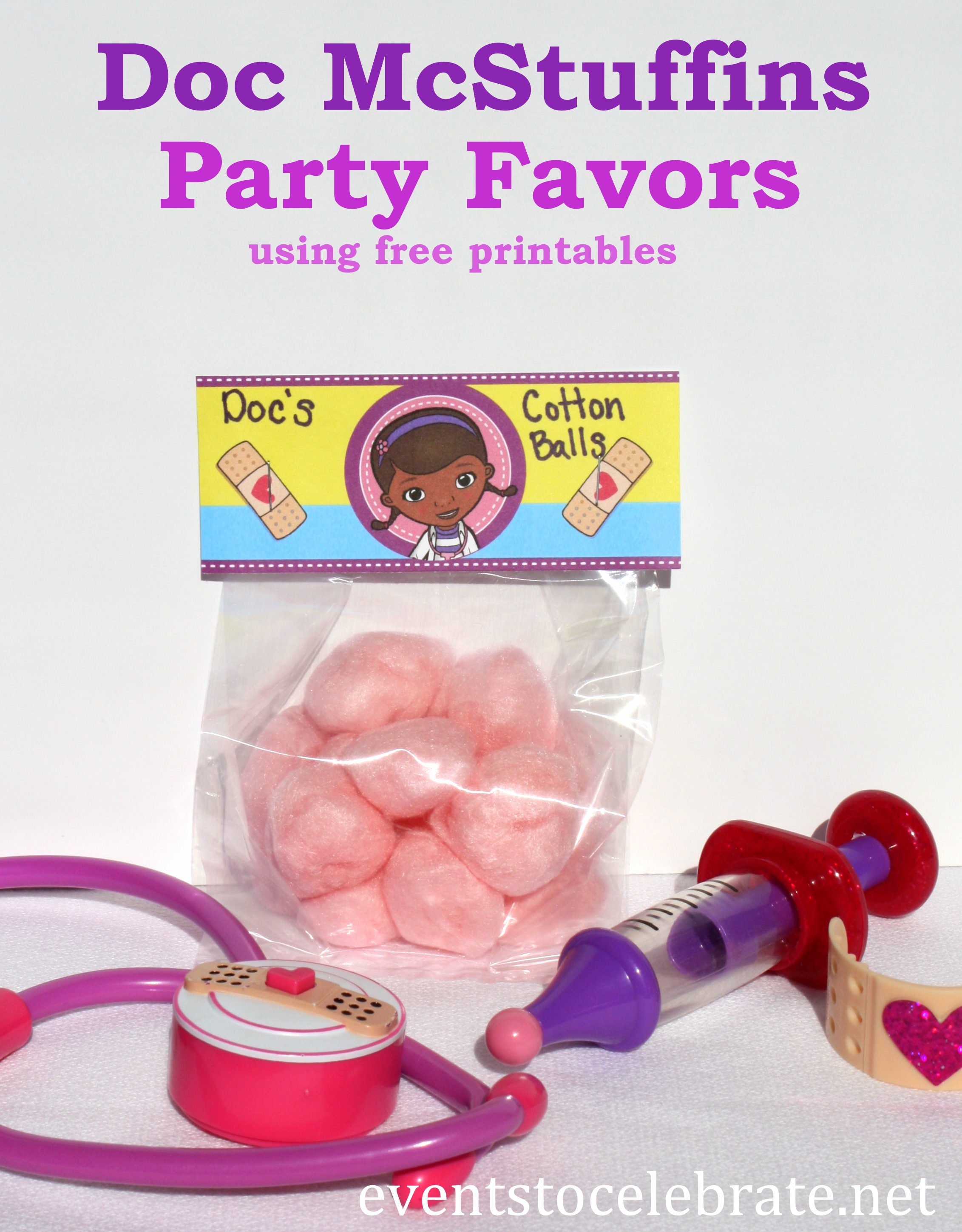 Doc McStuffins Party Favors - free printables - eventstocelebrate.net