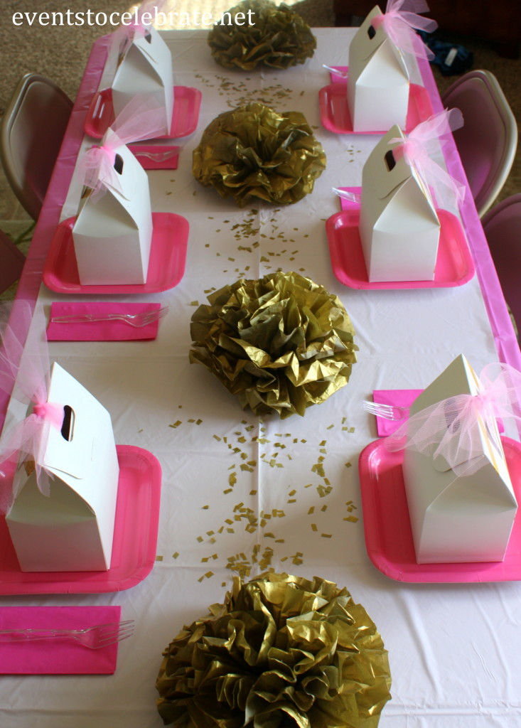 Pink and Gold Party Table Decor - eventstocelebrate.net #LoveDoveFruits #ad